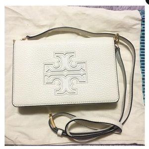 Tory Burch White Genuine Leather Harper Crossbody
